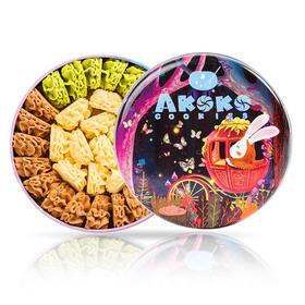 AKOKO云顶小花曲奇饼干铁盒   好吃的高颜值休闲零食560g
