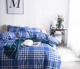 60S长绒棉印花四件套 蓝条纹