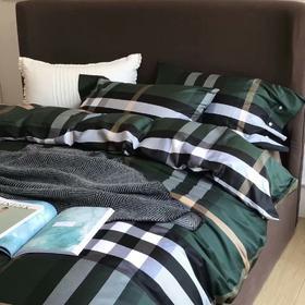 60S长绒棉印花四件套  绿条纹