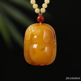 蜜蜡鸡油黄浮雕【福禄】雕刻件