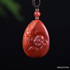 玫瑰红带柿子红俏色与福相伴雕刻件