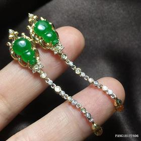 G18K冰种帝王绿葫芦翡翠耳饰
