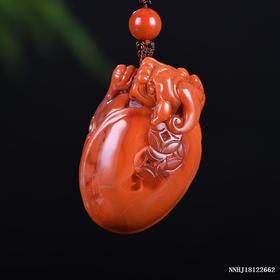 柿子红带玫瑰红聚财雕刻件