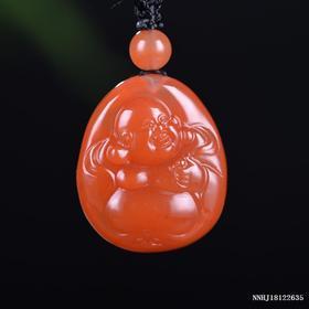 樱桃红弥勒雕刻件