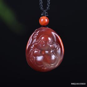 玫瑰红带冻料弥勒雕刻件
