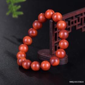 柿子红带玫瑰红单圈手串 约11-11.3mm
