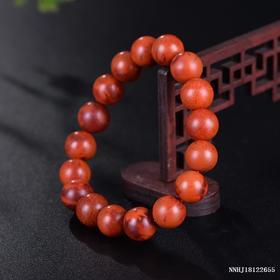 柿子红带玫瑰红单圈手串 约10.9-11.5mm