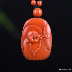 柿子红带皮弥勒雕刻件