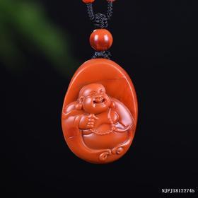 柿子红弥勒雕刻件