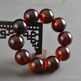 缅甸琥珀棕红珀圆珠手串 珠径约:24.8-25.2mm