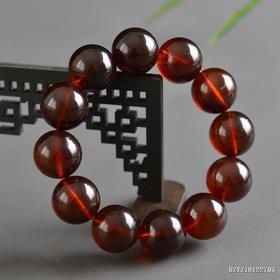 缅甸琥珀棕红珀圆珠手串 珠径约:19mm