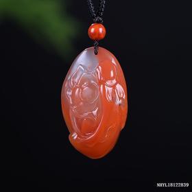 柿子红带冻料花开见佛雕刻件