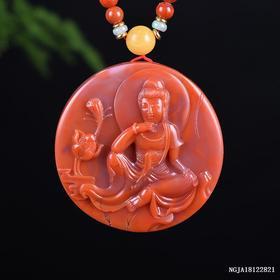 柿子红带红白料花开见佛雕刻件