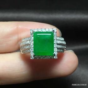 G18K冰种阳绿翡翠戒指