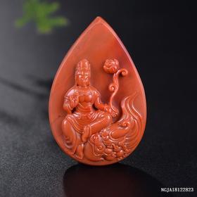 柿子红文殊菩萨雕刻件