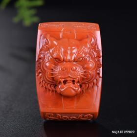 柿子红虎虎生威雕刻件