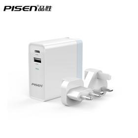 USB+Type-C双口快速充电器 34W 搭配两个国际转换插头