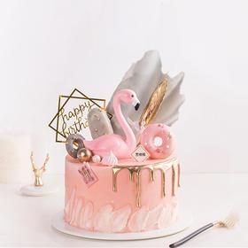 粉金火烈鸟·创意流金滴落网红生日蛋糕