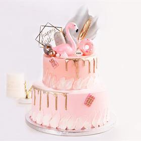 (双层蛋糕)粉金火烈鸟·创意流金滴落网红生日蛋糕