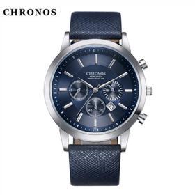 爆款CHRONOS手表装饰小三针 男士休闲皮带日历商务经典手表
