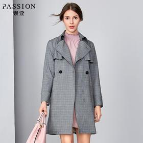 钡萱2019春季新款 时尚减龄格子西装领腰带中长款外套S80029A