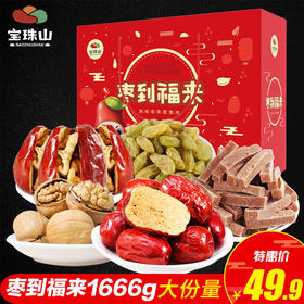 【宝珠山 年货礼盒零食大礼包1666g】大红枣夹核桃葡萄干山楂条