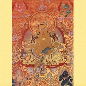 纯手绘尼泊尔黄财神唐卡 财宝天王 矿物颜料黄金手工绘制  画芯不装裱0034