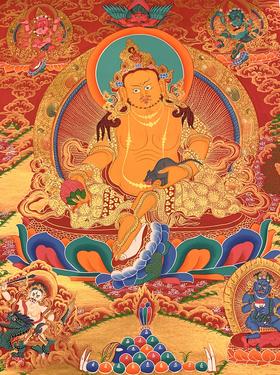 尼泊尔法师纯手绘黄财神唐卡 财宝天王 矿物颜料及黄金绘制 画芯不装裱