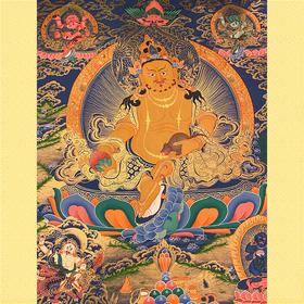 纯手绘尼泊尔黄财神唐卡 财宝天王 矿物颜料黄金手工绘制  画芯不装裱0031
