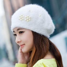 【帽子】*帽子女士冬天韩版潮珍珠兔毛针织冬季贝雷帽獭兔毛帽子 | 基础商品