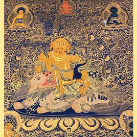 纯手绘尼泊尔黄财神唐卡 财宝天王 矿物颜料黄金手工绘制  画芯不装裱0012
