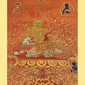 纯手绘尼泊尔黄财神唐卡 财宝天王 矿物颜料黄金手工绘制  画芯不装裱