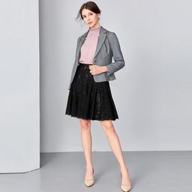 钡萱2019春夏季新款 休闲英伦风西装领格子外披开衫女短外套S80025A