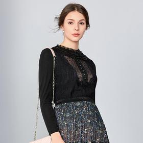 钡萱2019春季新款 优雅淑女黑色层叠钉珠修身显瘦蕾丝衫上衣S80016A