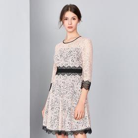 钡萱2019春夏季新款 优雅唯美显瘦七分袖蕾丝高腰显瘦连衣裙S80006G
