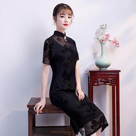 TX360新款网纱蕾丝旗袍TZF