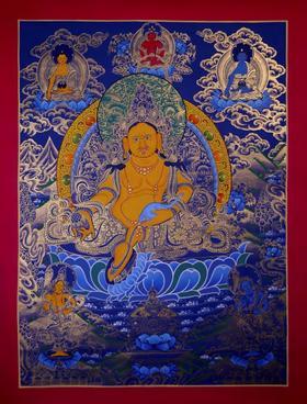 纯手绘尼泊尔黄财神唐卡 财宝天王 矿物颜料黄金手工绘制  画芯不装裱0039