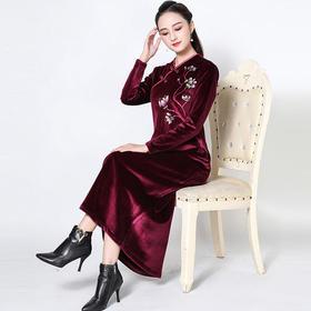 YB189278Q时尚金丝绒礼服TZF
