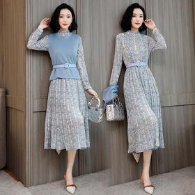 AN1919SYY新款纯色长袖连衣裙两件套TZF