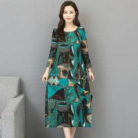 GN6137QX新款棉麻印花连衣裙TZF