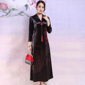 YBFS19010Q中国风金丝绒连衣裙TZF