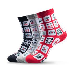 四季款创意麻将袜 球鞋袜 精梳棉中筒袜(3双)