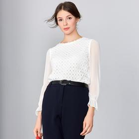 钡萱2019春夏季新款 时尚优雅白色荷叶袖钉珠短款雪纺女上衣S80099A