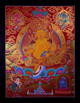 纯手绘尼泊尔黄财神唐卡 财宝天王 矿物颜料黄金手工绘制  画芯不装裱0038