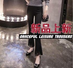QKC新款修身显瘦蕾丝喇叭裤OL通勤长裤子TZF