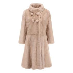 Covet 自有品牌 藕粉色水貂裙摆式外套