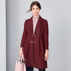 钡萱2019春季新款 时尚简约气质西装领收腰中长款风衣外套女S80081A
