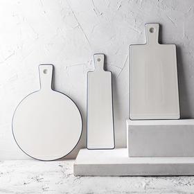 北欧简约陶瓷早餐盘面包板带把手茶盘长方形果盘家用水果托盘