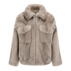 Covet 自有品牌 浅灰色口袋水貂拉链短外套