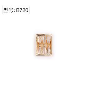 【美甲金属饰品】B720金底真金超闪方形大锆石金色弧面弧度
